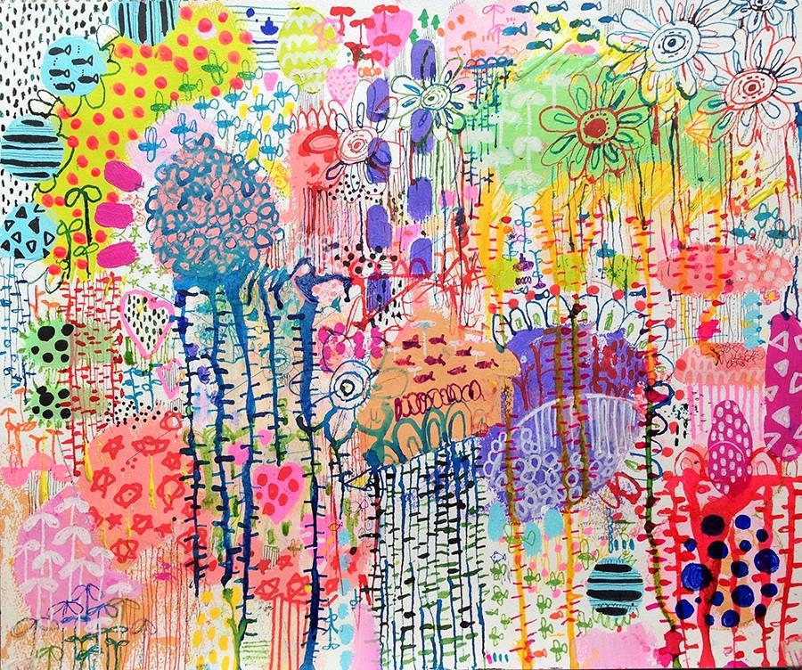 『いとなみ』-37×45cm-紙、アクリル、インク-2015年