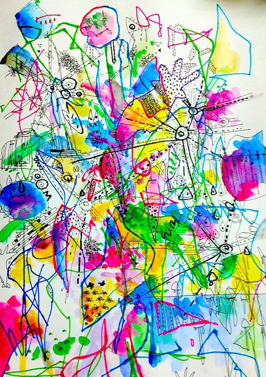 『生活』-42×29cm-紙、インク、ペン-2013年